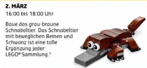 LEGO - gratis für Kinder: Kostenloser Monatlicher Minimodellbau am 02.03.17 (Schnabeltier)