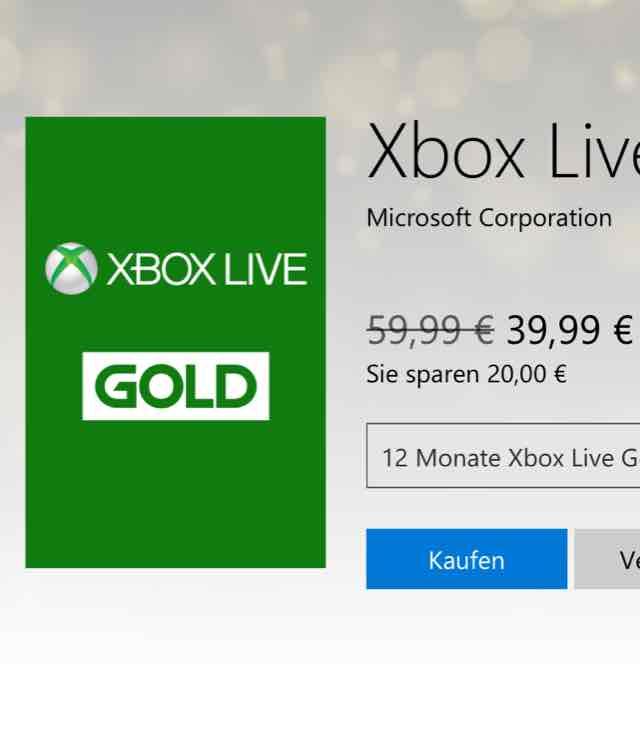 Xbox Live Gold 12 Monate für 39,99