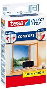 tesa Fliegengitter für Fenster, anthrazit, durchsichtig, 1m x 1m