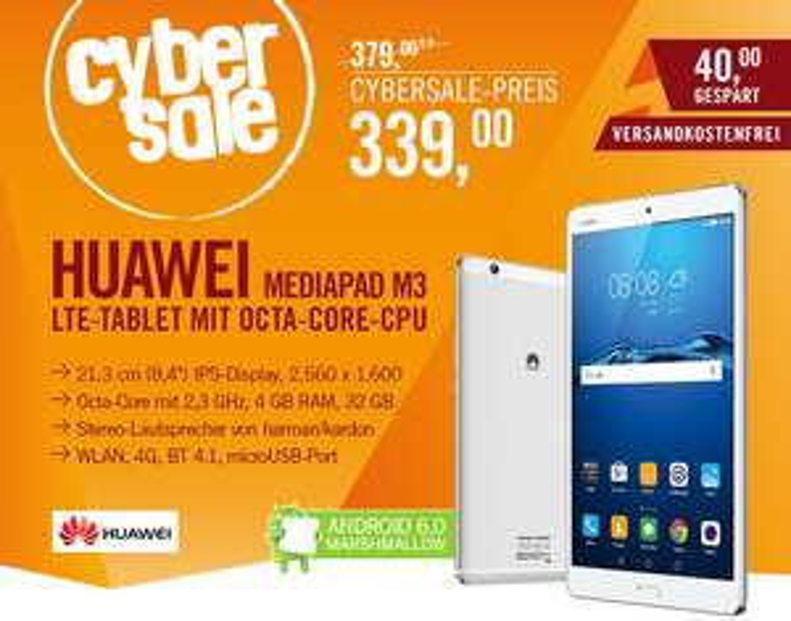 "[Cyberport] Huawei MediaPad M3 LTE Silber, 8,4"" WQXGA IPS Display, Octa-Core, 4GB, 32GB, Android 6"