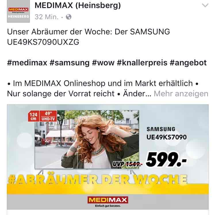 Samsung 49KS7090 UHD TV 599€ + Galaxy Tab E im Medimax Heinsberg