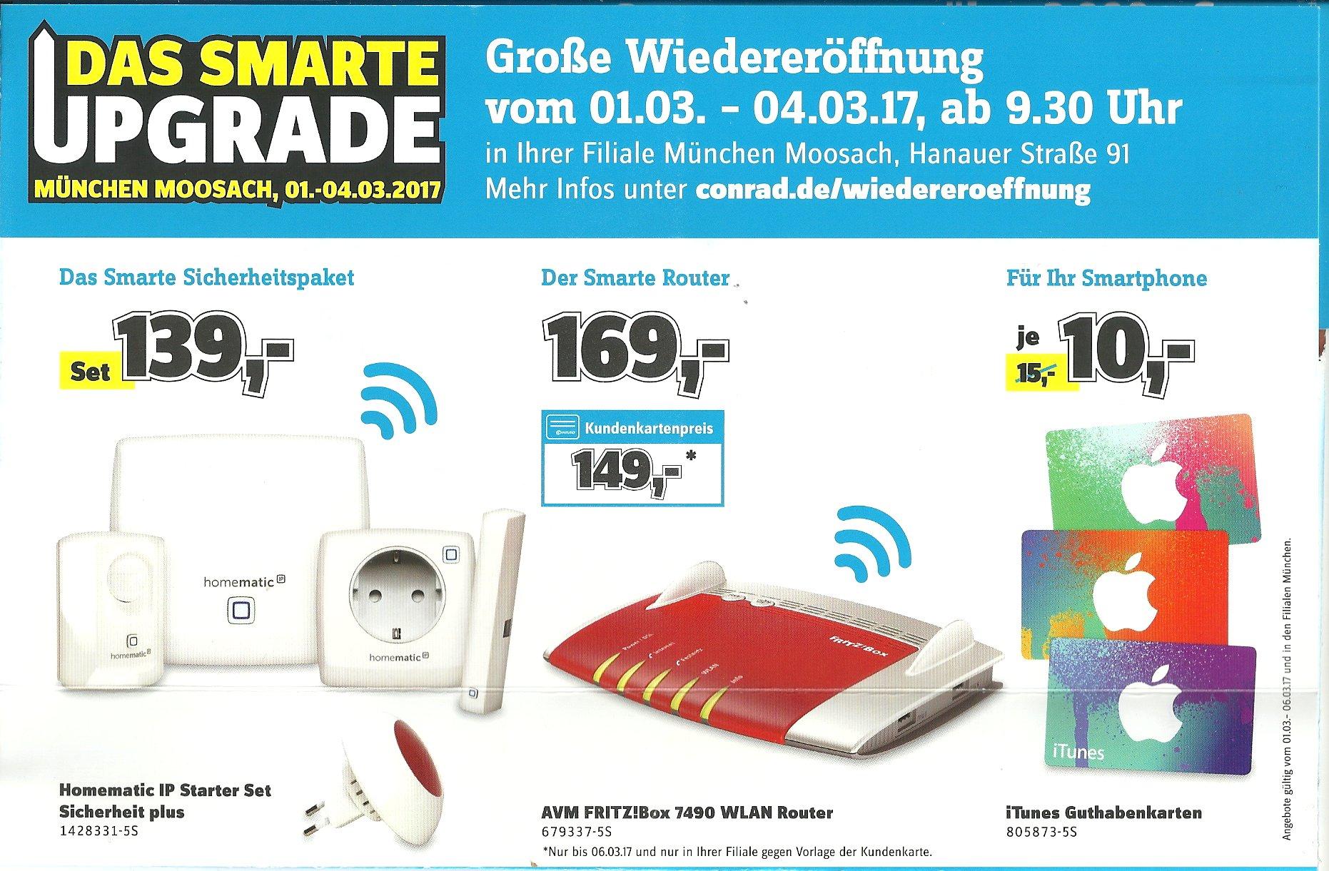[Lokal München Moosach] 01. bis 04. März: Fritzbox 7490 für 169 (mit Kundenkarte: 149) EUR; Homematic IP Starter Set Sicherheit plus für 139 EUR;15 EUR iTunes-Guthaben für 10 EUR