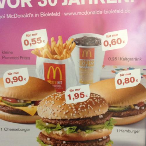 [Lokal] McDonalds Bielefeld - Preise wie vor 30 Jahren