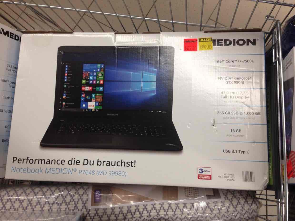 Lokal Medion Notebook P7648 17 Zoll bei Aldi in Wickede (Plz 58739)