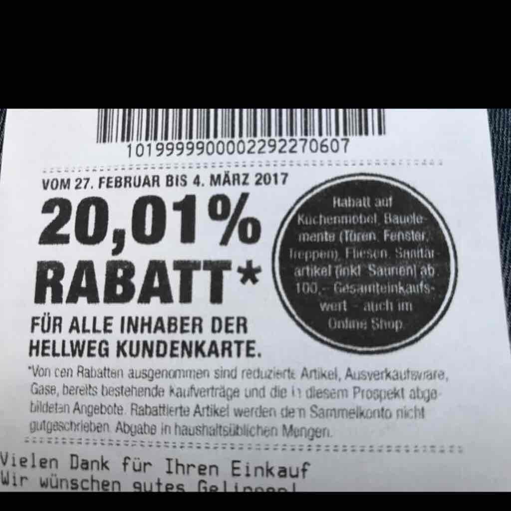 Hellweg Baumarkt: 20,01 % Rabatt für Kundenkarteninhaber vom 27.02. bis 04.03.