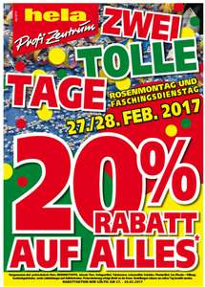 Hela Profi Zentrum  20% Aktion auf alles am 27.+28.2.2017. Tiefpreisgarantie bei Hornbach und Bauhaus
