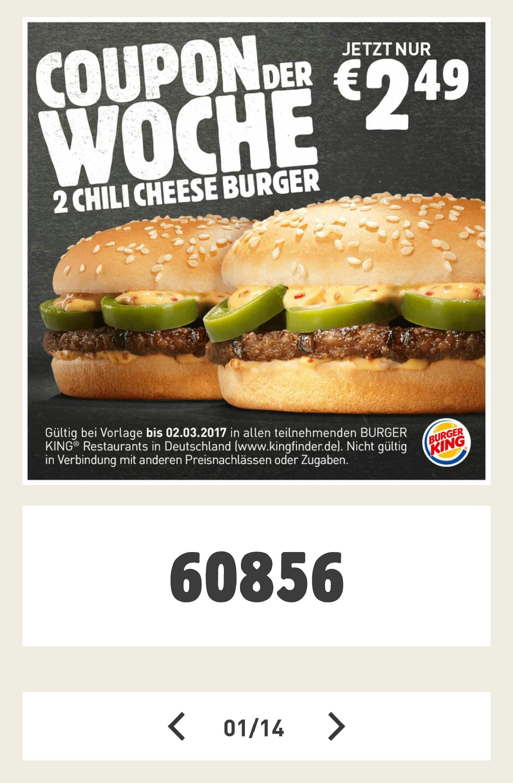 [Burger King - App] 2 Chili Cheese Burger für 2,49€