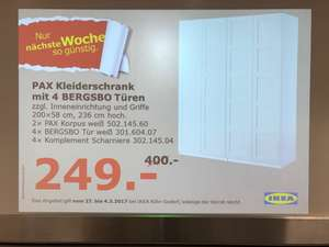 ikea pax kleiderschrank 200x58x236cm mit bergsbo t ren anstatt 400 nur 249 euro k ln godorf. Black Bedroom Furniture Sets. Home Design Ideas