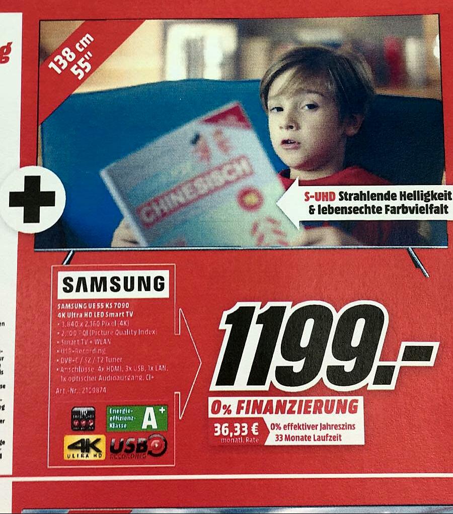 """Samsung UE55KS7090 + Galaxy TAB E(9,6"""",8GB) für 1199,-  nächster Preis bei 1499,- (Lokal Mediamarkt Nordhorn) bundesweiter Versand möglich"""