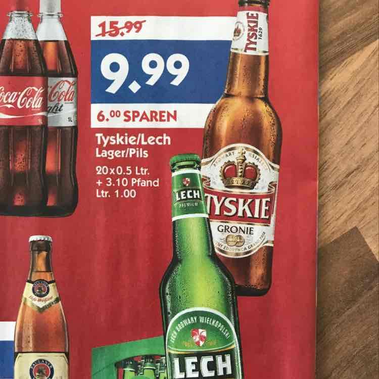 Kiste Tyskie / Lech Bier (20x0,5l) bei Hol' Ab von 06.03 - 11.03.2017