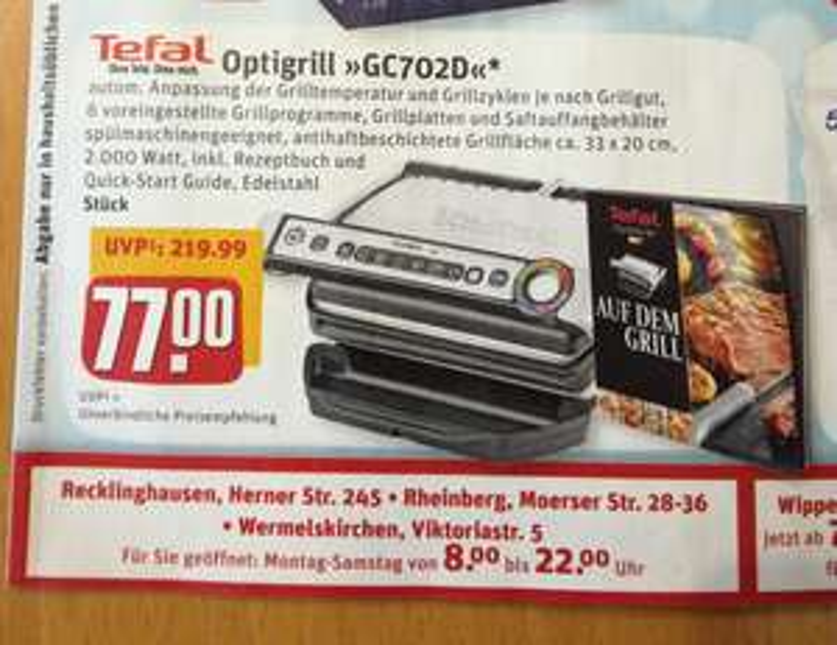 Tefal Optigrill GC702D für 77 Euro Lokal (Recklinghausen, Rheinberg, Wermelskirchen)