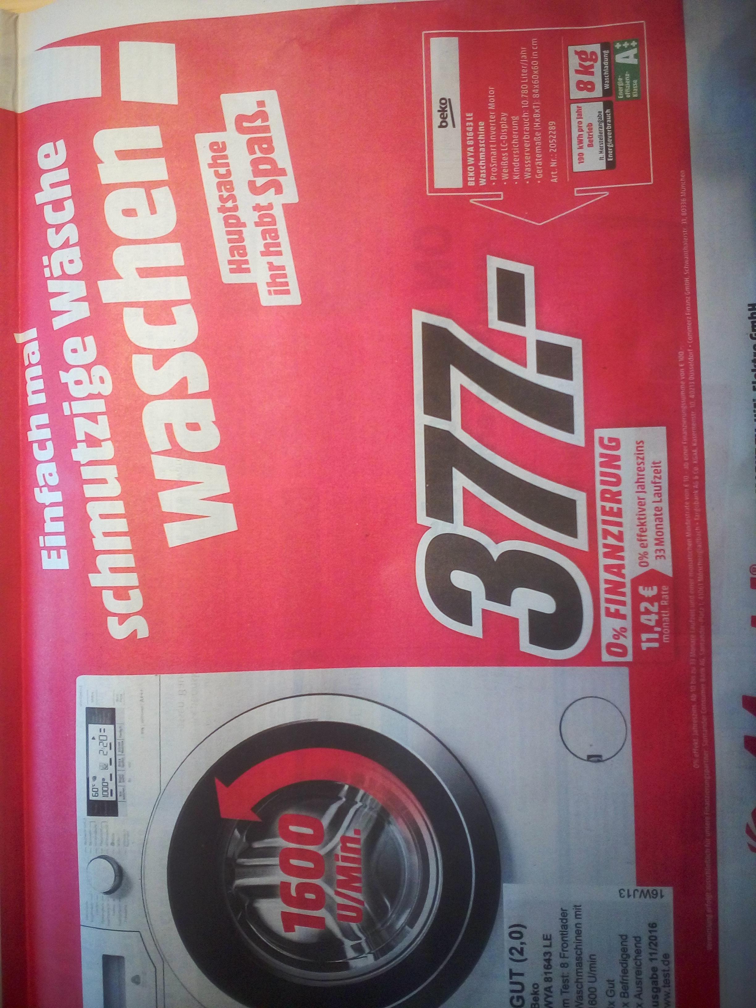 (Lokal) Media Markt Osnabrück Beko WYA 81643 LE Waschmaschine für 377€ statt 463,98€