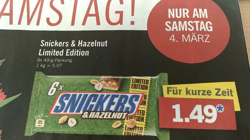 [LIDL] Snickers & Hazelnut Limited Edition am 04.03.17 im Angebot