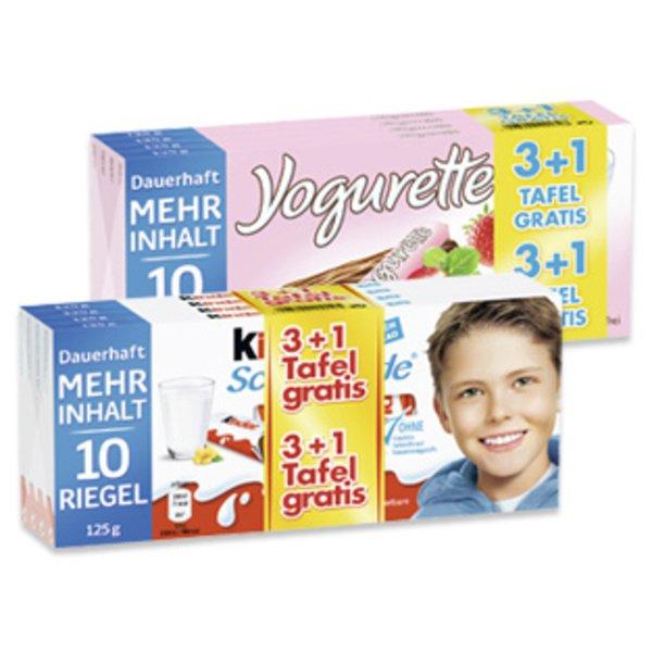 3+1 Kinder Schokolade bzw. Yogurette 10er bei Penny für 0,74€/Tafel am Framstag bei Penny