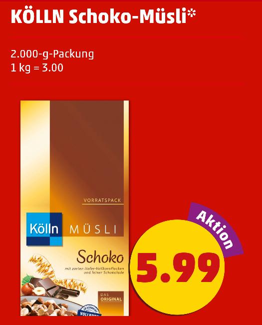 Kölln Schoko-Müsli 2.000-g- Packung, 100g für 0,30€ [Penny]