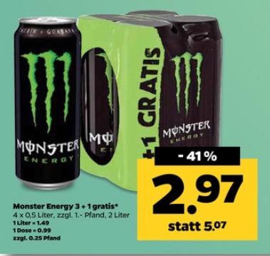 [Netto mit Hund] 4 x Monster Energy für 2,97 (0,75€ pro Dose)