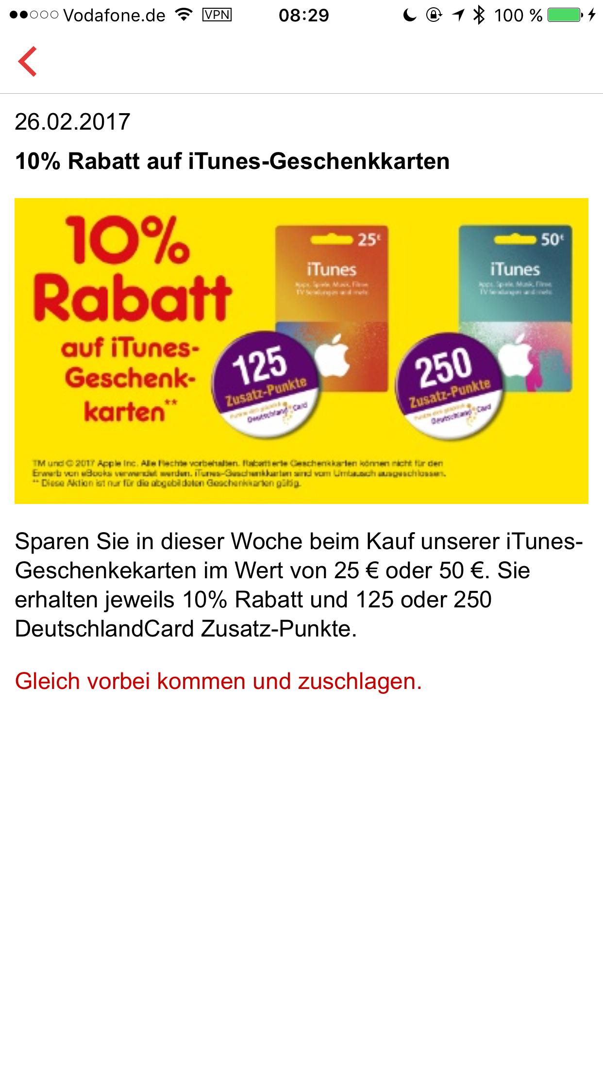 [Katzen Netto] 10% Rabatt auf iTunes 25/50EUR + 125/250 Deutschlandcard Punkte