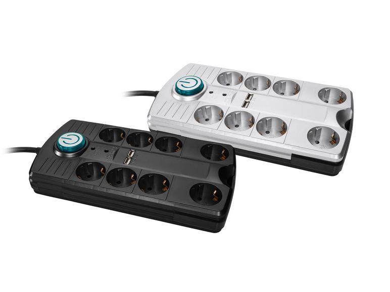 Überspannungsschutz-Steckdosenleiste mit 8 Steckdosen, 2 USB Ladeanschlüssen, Fußschalter, 12,99 €, Lidl