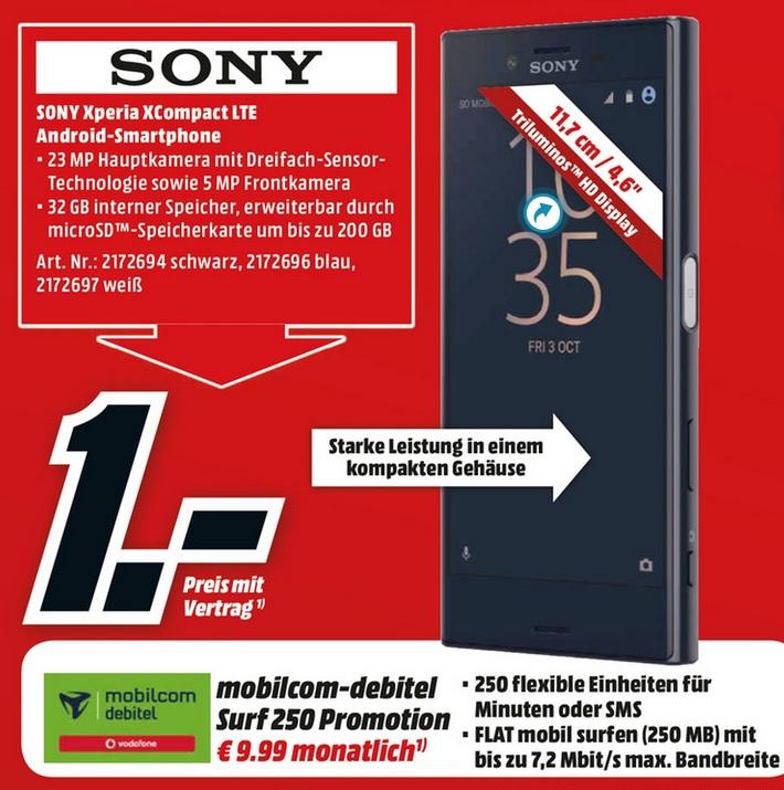 Sony Xperia X Compact (23MP,3GB Ram,4,7 Zoll) mit Surf 250 Promotion Vodafone Vertrag = 280,75€ (Gerätepreisvergleich:339,00€)