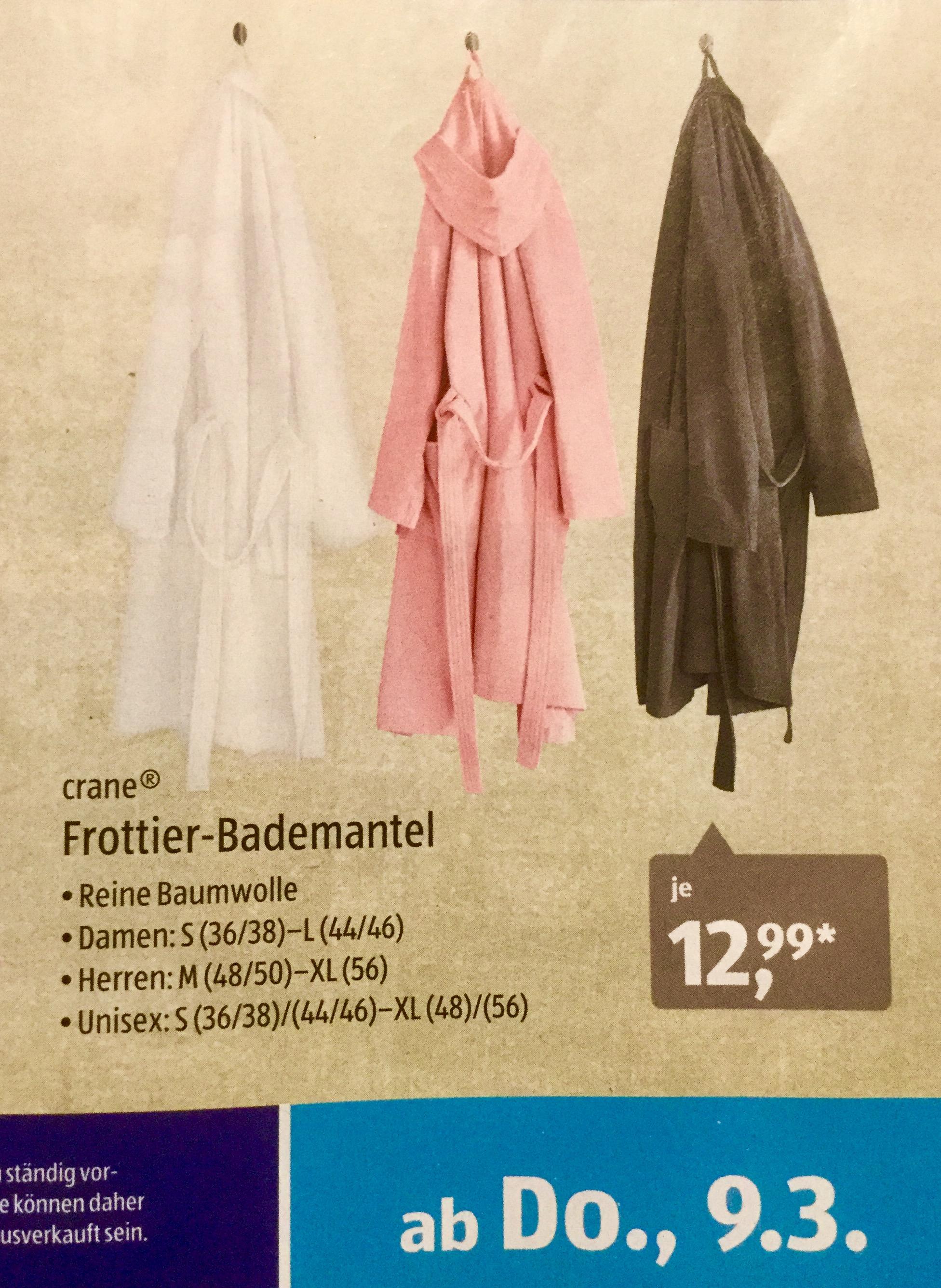 [Aldi Sued ab 9.03.] Frottier-Bademantel 100% Baumwolle für 12,99€