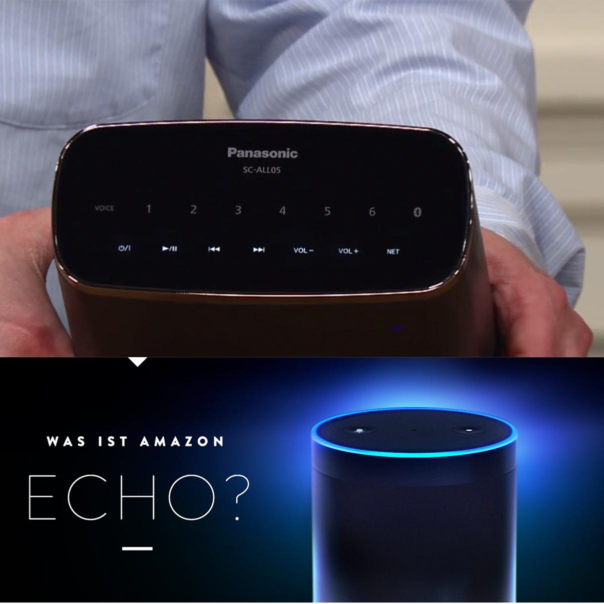 Panasonic wasserfester WLAN Bluetooth (Multiroom) Lautsprecher mit Akku oder Amazon Echo zum Bestpreis @QVC