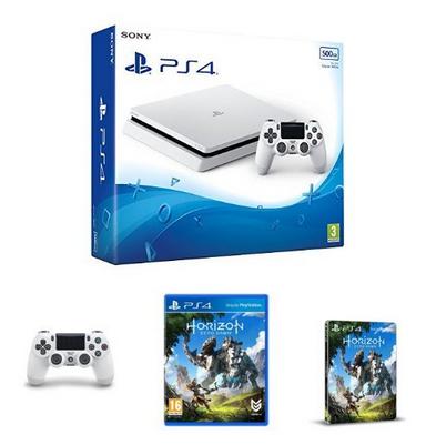 Sony PlayStation 4 Slim + 2. Dualshock 4 v2 Controller + Horizon: Zero Dawn + Steelbook für 275.76 Euro (Amazon.co.uk)
