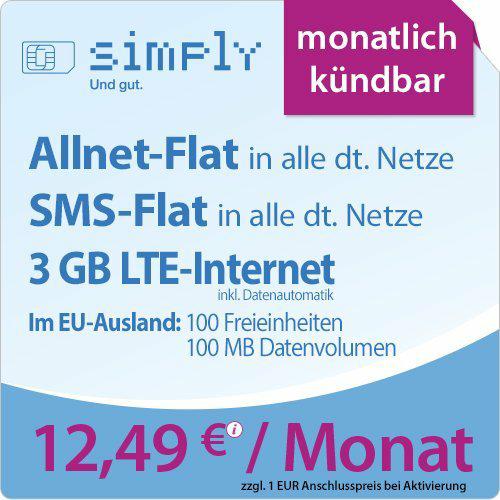 Simply Prepaid Vertrag LTE 500 / 1500 / 3000 / 5000 / 10000 Anschlussgebühr 4,99€ bei Amazon (Prime) anstatt 19,99€