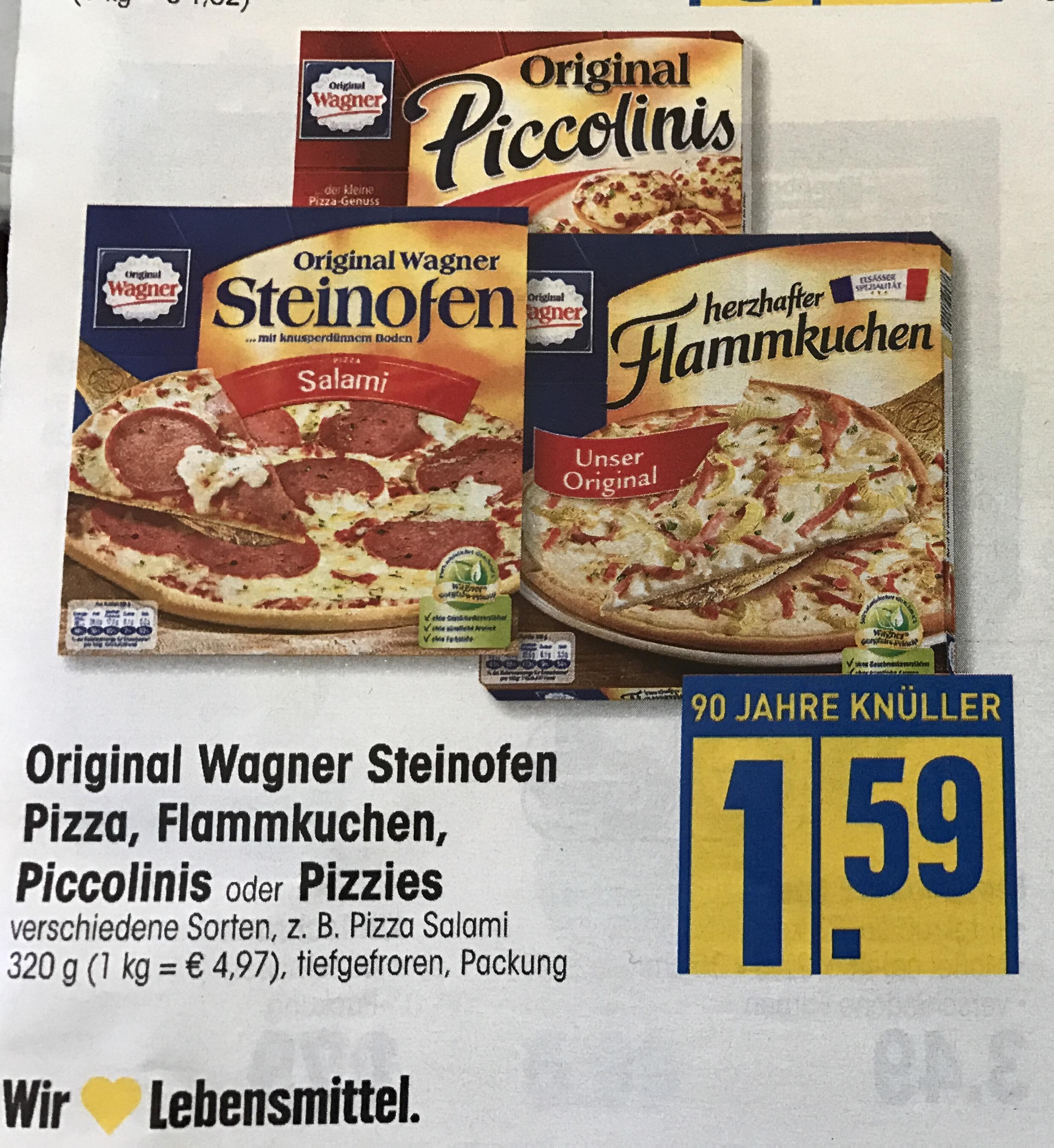 Edeka: Wagner Steinofen Pizza, Flammkuchen, Piccolinis oder Pizzies für 1,59€