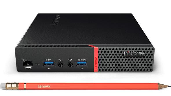Lenovo Mini-PC ThinkCentre M700 Tiny mit Dualcore Celeron auf Skylake Basis, 128GB SSD, 4GB DDR4, Intel WLAN, Win10, Maus + Tastatur, 3 Jahre Lenovo Garantie