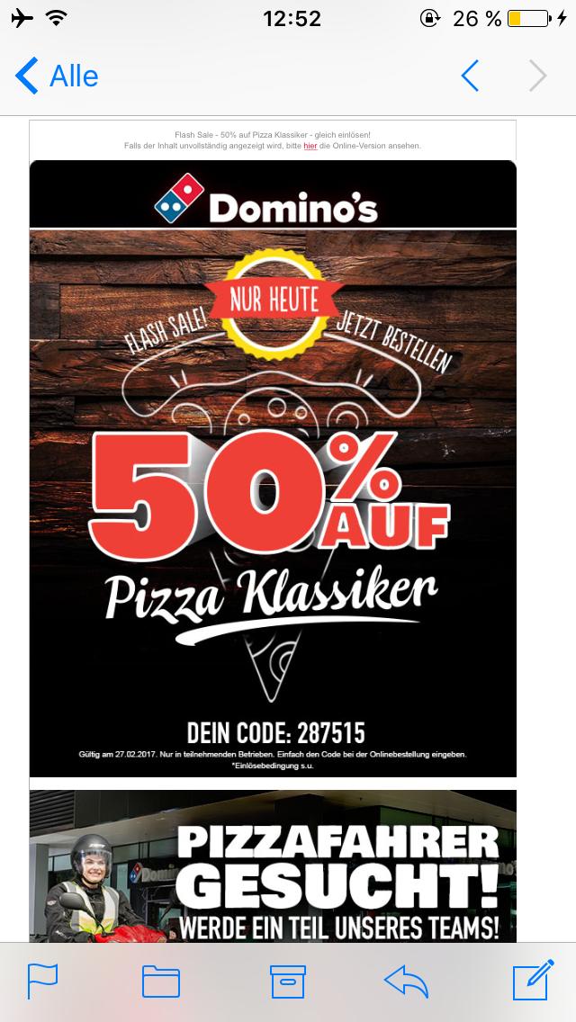 [Dominos Pizza] 50% Rabatt auf alle Pizza Klassiker - nur heute!