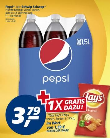 6er Pack 1,5l Pepsi / Schwip Schwap (0,42€ je l) + Lays Chips (175g) für 3,79€@ Real