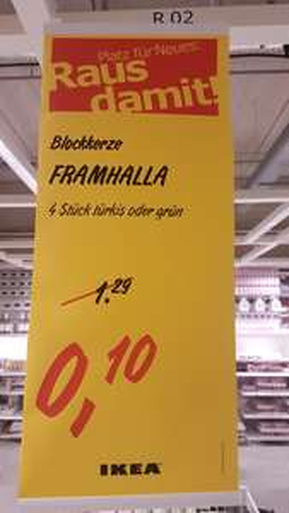 [Lokal Ikea Augsburg] 4 Blockkerzen FRAMHALLA für 0,10 €