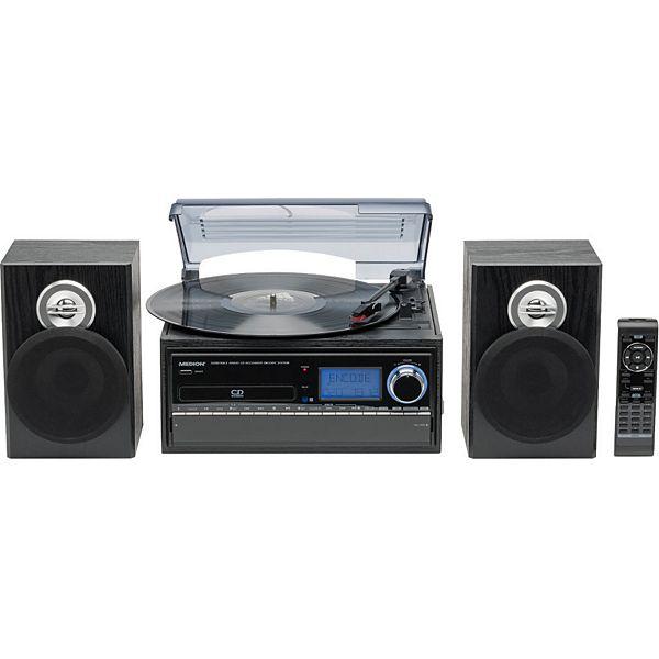 [Plus] MEDION LIFE MD 43001 Schallplattenspieler, direkte Umwandlung, integriertes Kassettendeck, SD Kartenleser, USB Anschluss, 33/45 U/min, Plattenspieler, schwarz