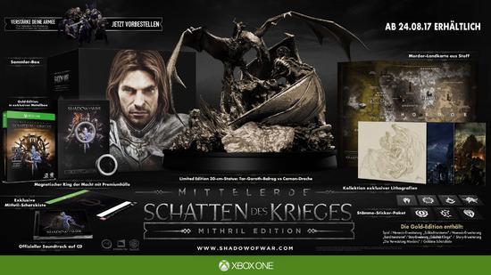 Gamestop: Mittelerde: Schatten des Krieges Mithril Edition für 70,77€ vorbestellen (PVG 299€ bei Amazon)