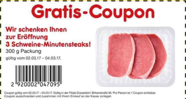 [Lokal Düsseldorf] 3 Gratis Schweine-Minutensteaks im Netto Markendiscount