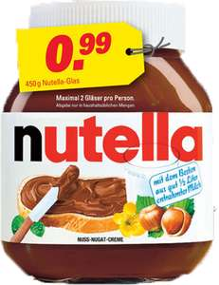 Nutella 450 g Glas 0,99 € [Höffner Bundesweit]