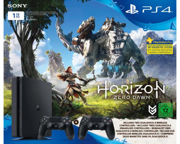 Sony PlayStation 4 Slim (PS4) 1TB + 2 DualShock Controller + 3 Monate PS Plus + Horizon-Zero Dawn für zusammen 298,-€ bei Abholung [Mediamarkt]
