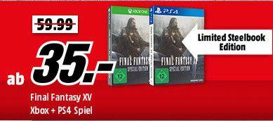 [Mediamarkt GDD] Final Fantasy XV (Limited Steelbook Edition) (Playstation 4) für 39,-€ oder (Xbox One) für 35,-€ Versandkostenfrei