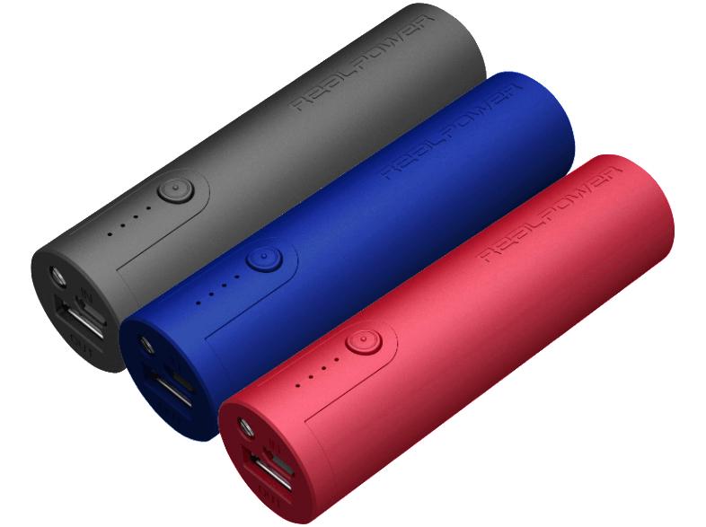 REALPOWER PB 260 3er Pack Powerbank 3x 2600 mAh Rot/Blau/Schwarz für 10 € bei Mediamarkt