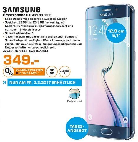 [Saturn - Lokal Dortmund, Witten, Lünen] Tagesangebot am 3.März - Samsung S6 Edge 32 GB in schwarz und gold für jeweils 349€