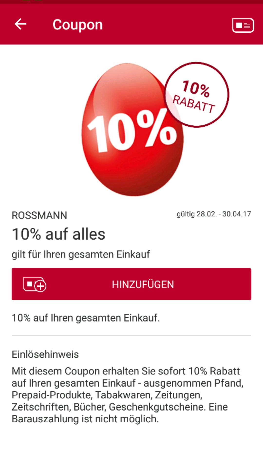Rossmann 10% für alles