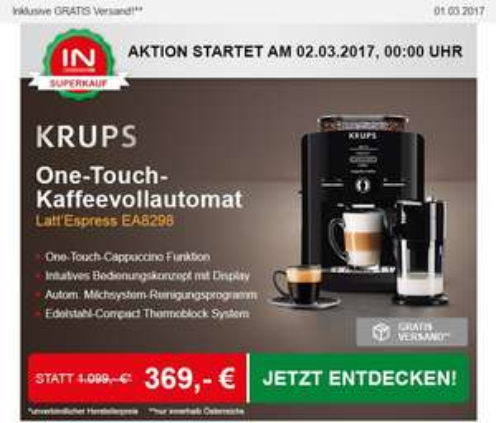 [INTERSPAR] [02.03.2017] Krups Latt´Espress One-Touch-Cappuccino Vollautomat EA 8298 - 369€ in AT / 375,9€ nach DE