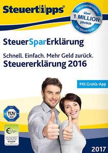 SteuerSparErklärung 2017 CD Box für Steuerjahr 2016 Windows