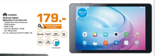[Saturn Stuttgart]Huawei MediaPad T2 10.0 Pro schwarz (WiFi, Snapdragon 615, 16GB Rom, 2GB Ram)