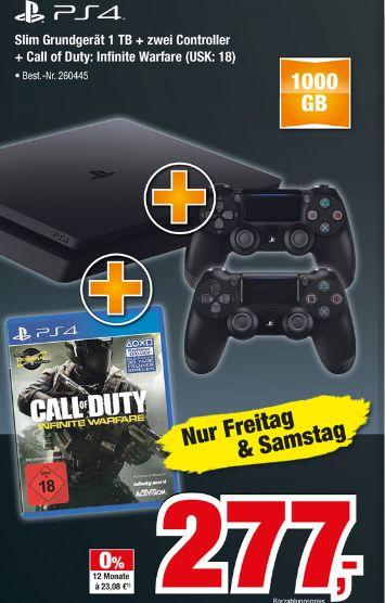 [Offline Expert.Bening Märkte/ Nur Freitag und Samstag] Sony PlayStation 4 (PS4) Slim 1TB + Call of Duty: Infinite Warfare + 2 Controller für 277,-€