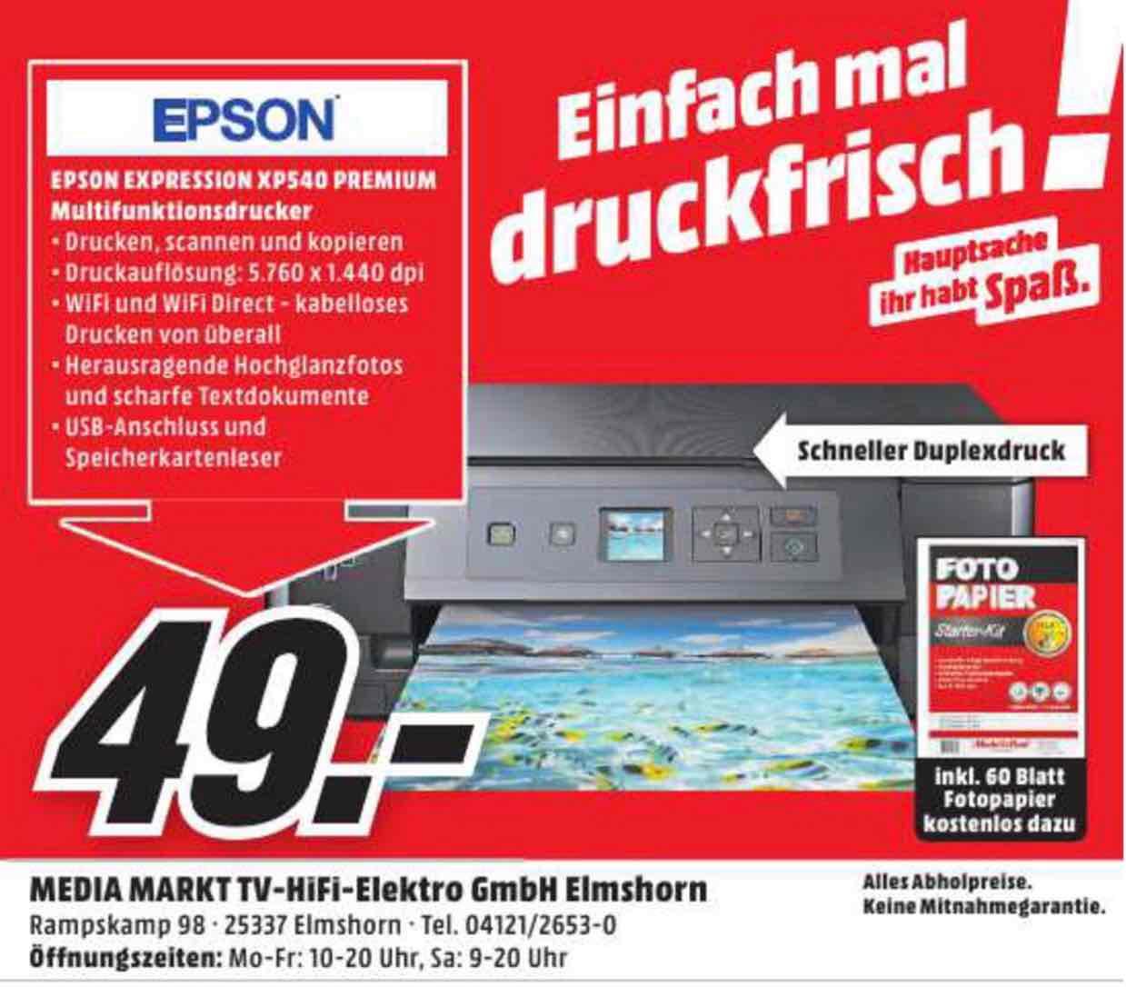 [ Lokal Media Markt Elmshorn ] Epson Expression Premium XP-540 für nur 49€ inklusive 60 Blatt Fotopapier !
