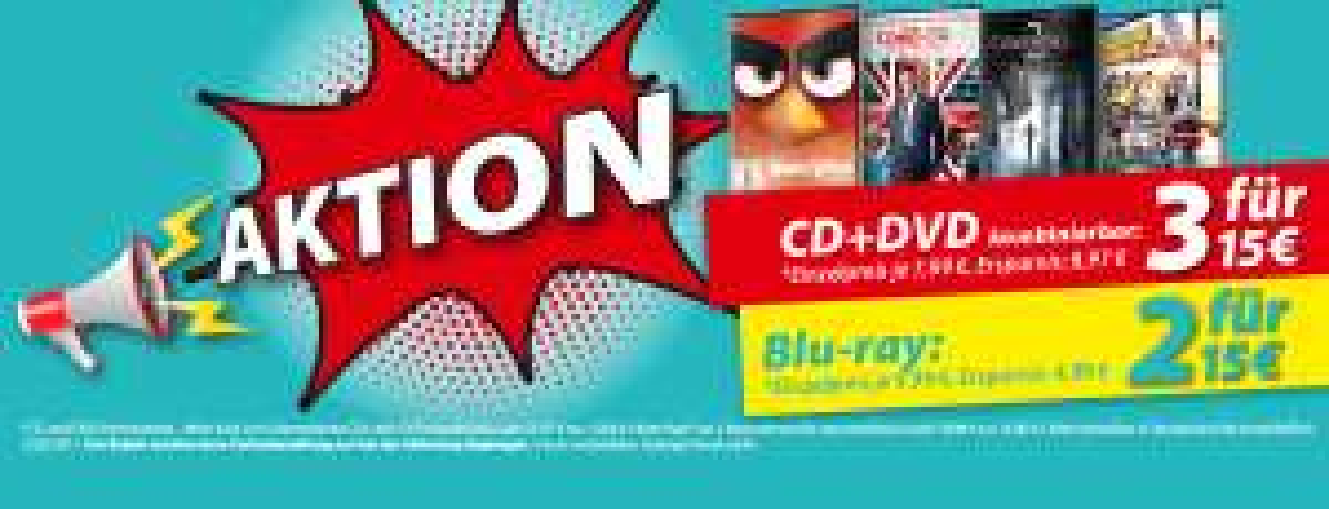 [MüllerOnlineShop] 3 DVDs/CDs für 15€ oder 2 BluRay für 15€