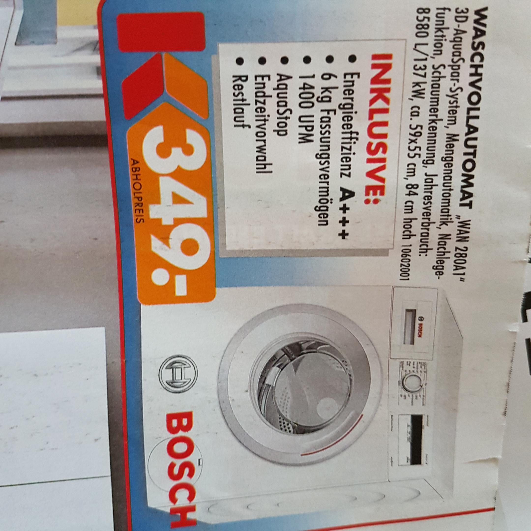 (lokal) Bosch Waschvollautomat WAN280A1 bei Möbel Kraft