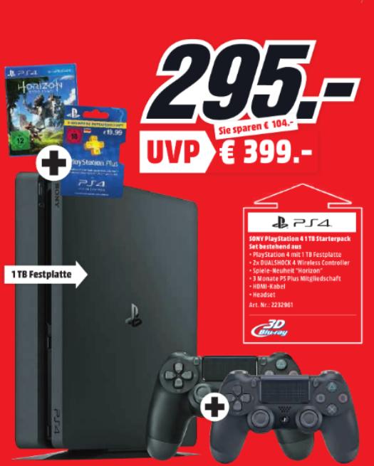[Lokal Weinheim] Playstation 4 1TB + Horizon + 2. Controller + 3 Monate PSPlus