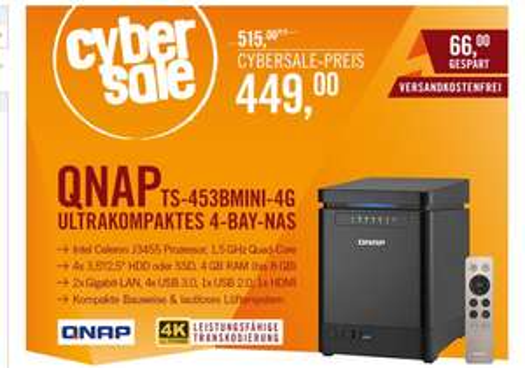 Qnap TS-453Bmini 4G 4-Bay NAS Leergehäuse bei Cyberport im Cybersale
